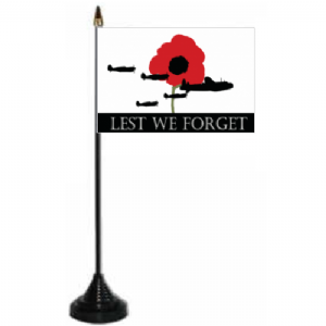 Lest We Forget RAF Desk / Table Flag with plastic stand and base